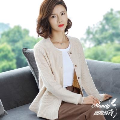 Mandy國際時尚 針織外套 秋 純色簡約鏤空長袖毛衣外套(5色)