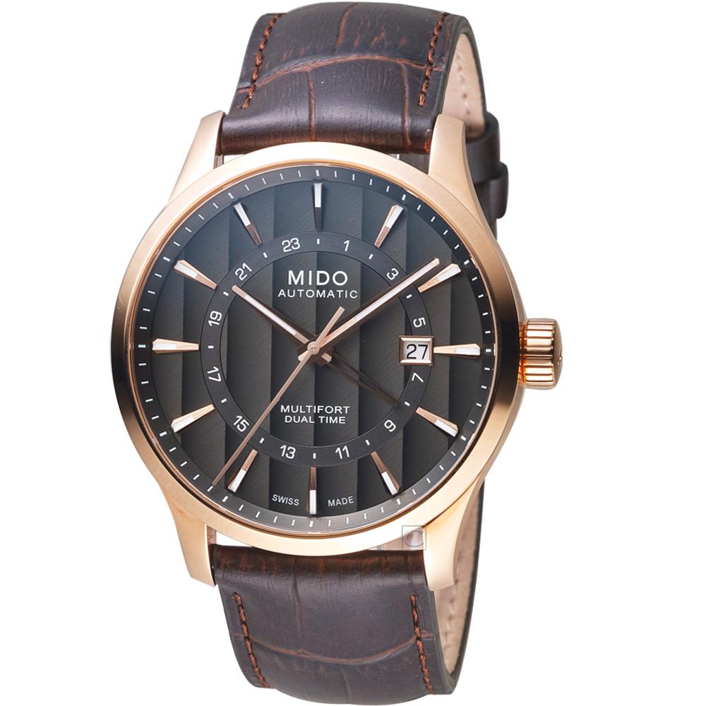 MIDO美度先鋒系列兩地時區腕錶(M0384293606100)-煙煤色