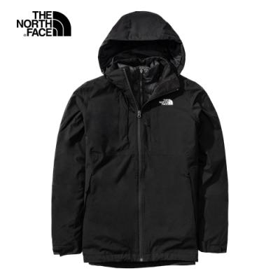 The North Face北面男款黑色防水透氣羽絨三合一外套|4N9UKX7