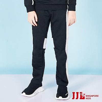 JJLKIDS 時尚拼接造型運動休閒棉長褲(麻灰)