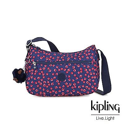 Kipling 古典茜紅小花拉鍊側背包-SALLY
