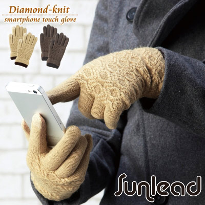 Sunlead 螢幕觸控。格菱紋保暖防寒針織手套