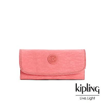 Kipling微甜薔薇粉素面掀蓋長夾-SUPERMONEY