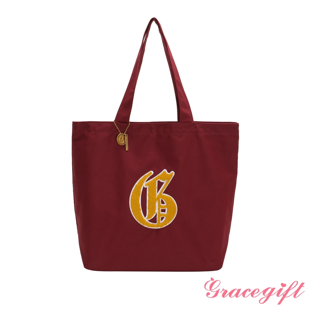 Grace gift-哈利波特葛來分多毛巾繡帆布托特包 酒紅