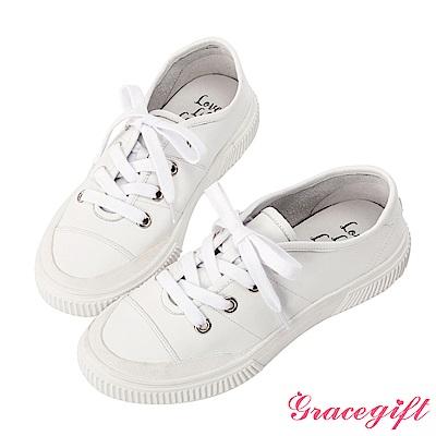 Grace gift X Kerina -聯名真皮2WAY綁帶休閒鞋 白