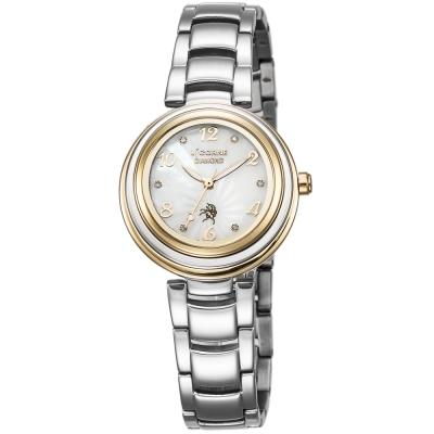 LICORNE 永恆時光真鑽系列 浪漫貝面晶鑽手錶-白x金/30mm