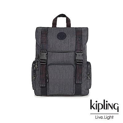 Kipling未來感極簡風深灰丹寧插扣束口掀蓋式後背包-IZIR