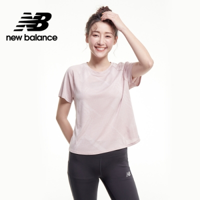 【New Balance】NB ICE X 涼感透氣提花短袖上衣_女性_灰粉紅_AWT03261SP1