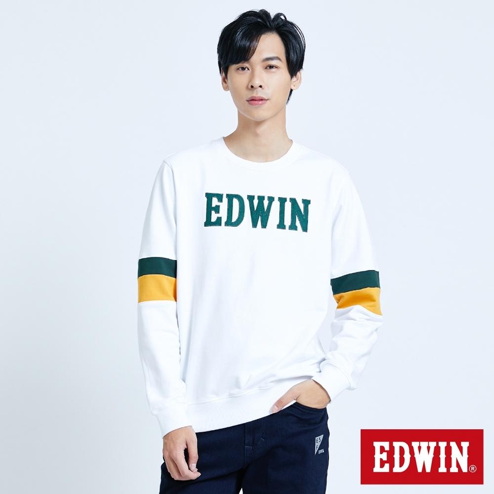 EDWIN 塗鴉系列 運動風配色厚長袖T恤-男-白色