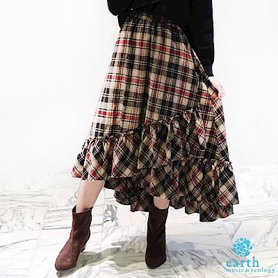 earth music 設計感格紋長裙