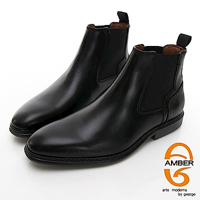 【AMBER】 都會時尚 葡萄牙進口直套式尖頭低跟踝靴-黑色