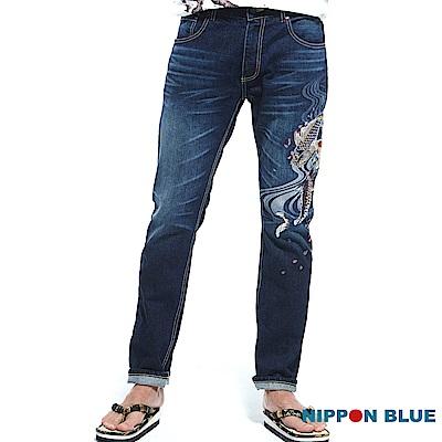 日本藍 BLUE WAY 水悅櫻鯉精繡低腰直筒褲