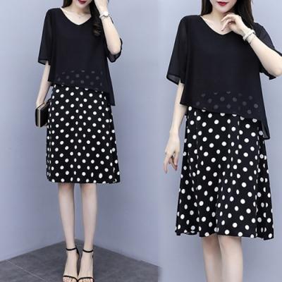 【韓國K.W.】優雅氣質顯瘦點點洋裝