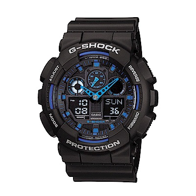 G-SHOCK 個性重型機械感Man運動錶(GA-100-1A2)-黑x藍/51.2mm