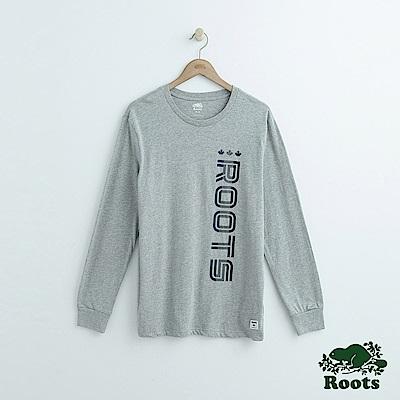 Roots-男裝- 左側字標長袖T恤-灰