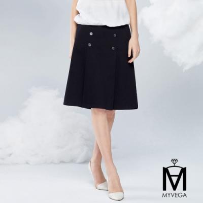 MYVEGA麥雪爾 MA高含棉立挺打褶雙排釦A字短裙-黑
