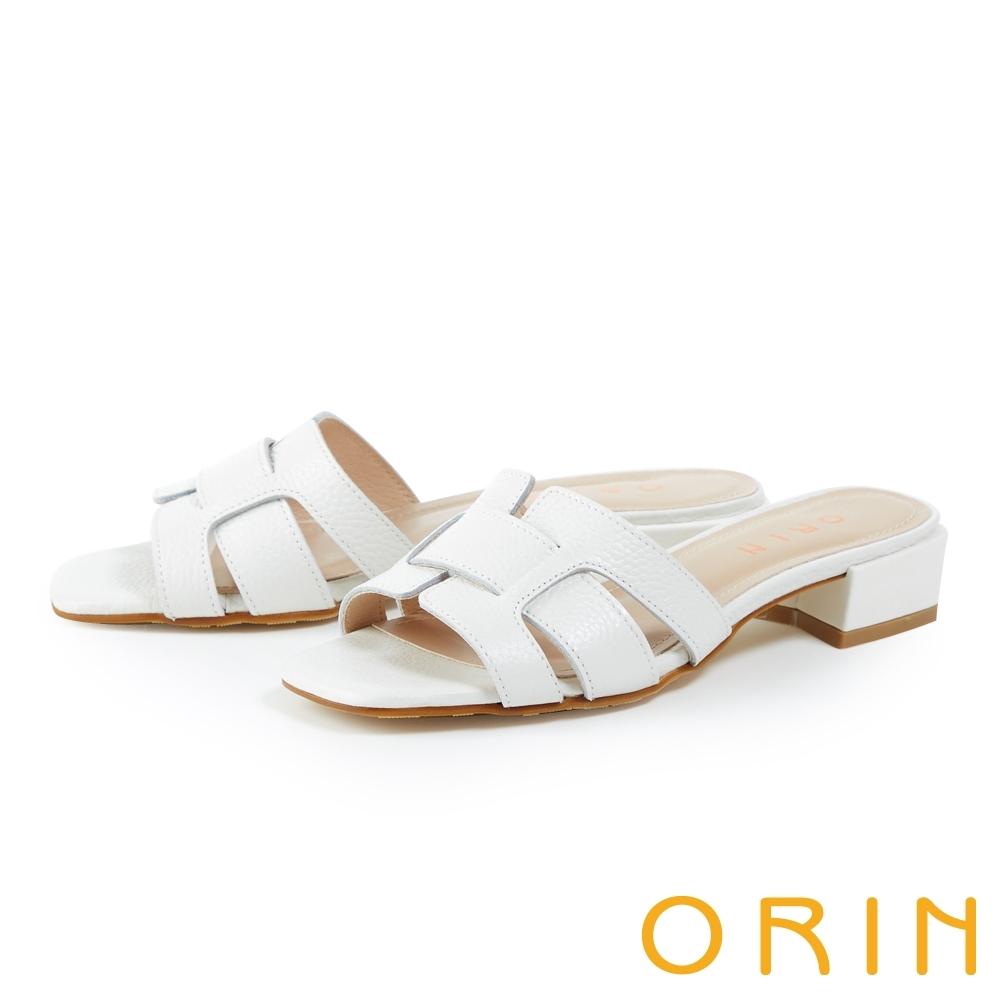 ORIN 造型荔枝紋牛皮粗跟 女 拖鞋 白色