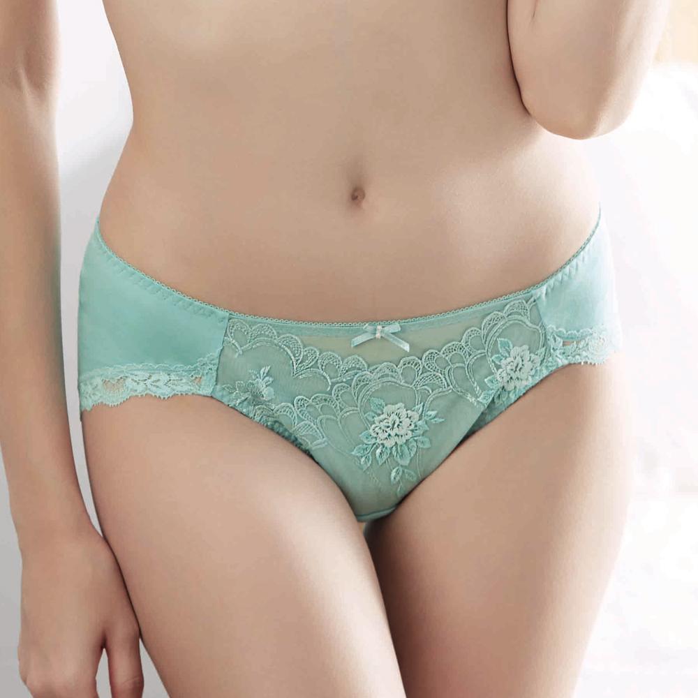 華歌爾-伊珊露絲深V系列 M-LL中腰三角褲(幻彩藍綠)透氣包臀