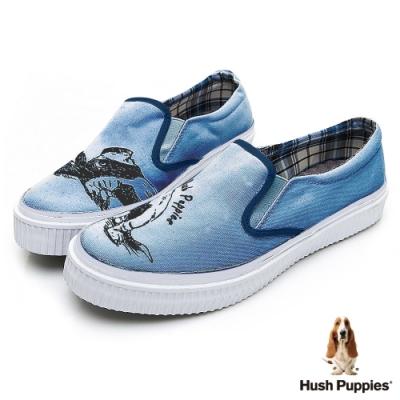 Hush Puppies 俏皮巴吉度狗懶人便鞋-藍色
