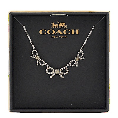 COACH 經典水造簡約造型蝴蝶結項鍊(銀)COACH