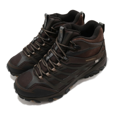 Merrell 戶外鞋 Moab Fst Ice Thermo 男鞋 登山 越野 耐磨 黃金大底 中筒靴 棕 黑 ML35791