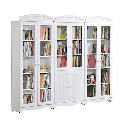 文創集 法斯威法式白8尺開門書櫃/收納櫃組合-240x32x197cm免組