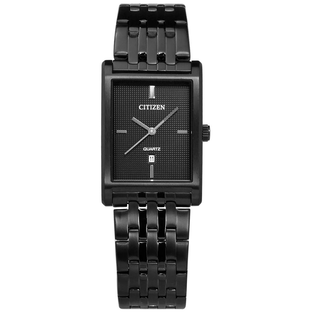 CITIZEN 礦石強化玻璃日期視窗手錶(BH3005-56E)-鍍黑/26mm