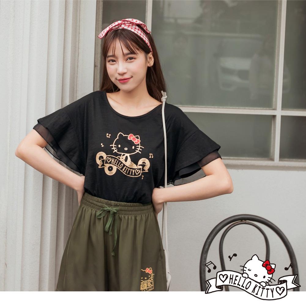 音樂Kitty印圖高含棉層次荷葉袖上衣-OB大尺碼