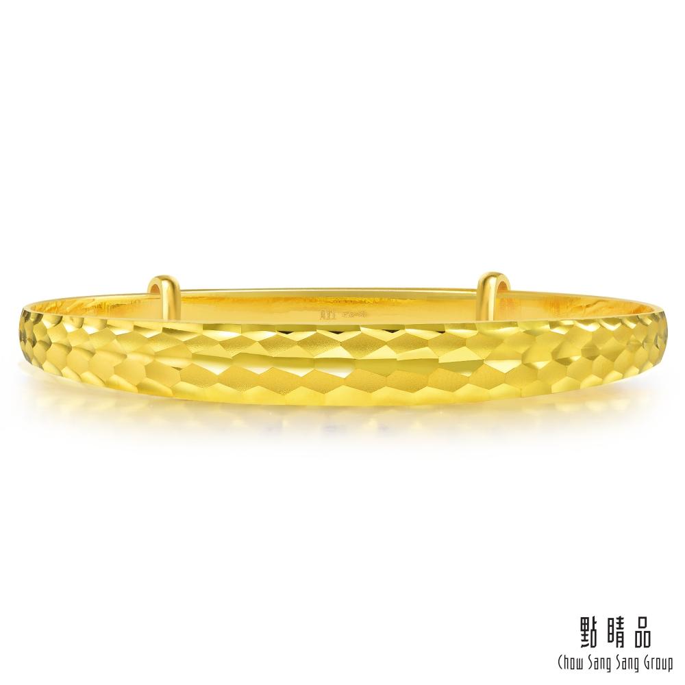 點睛品 足金波紋黃金手鐲_計價黃金