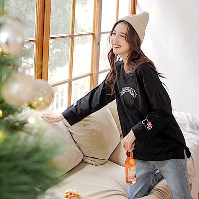 KITTY聖誕系列~純棉袖口印圖前短後長上衣-OB大尺碼