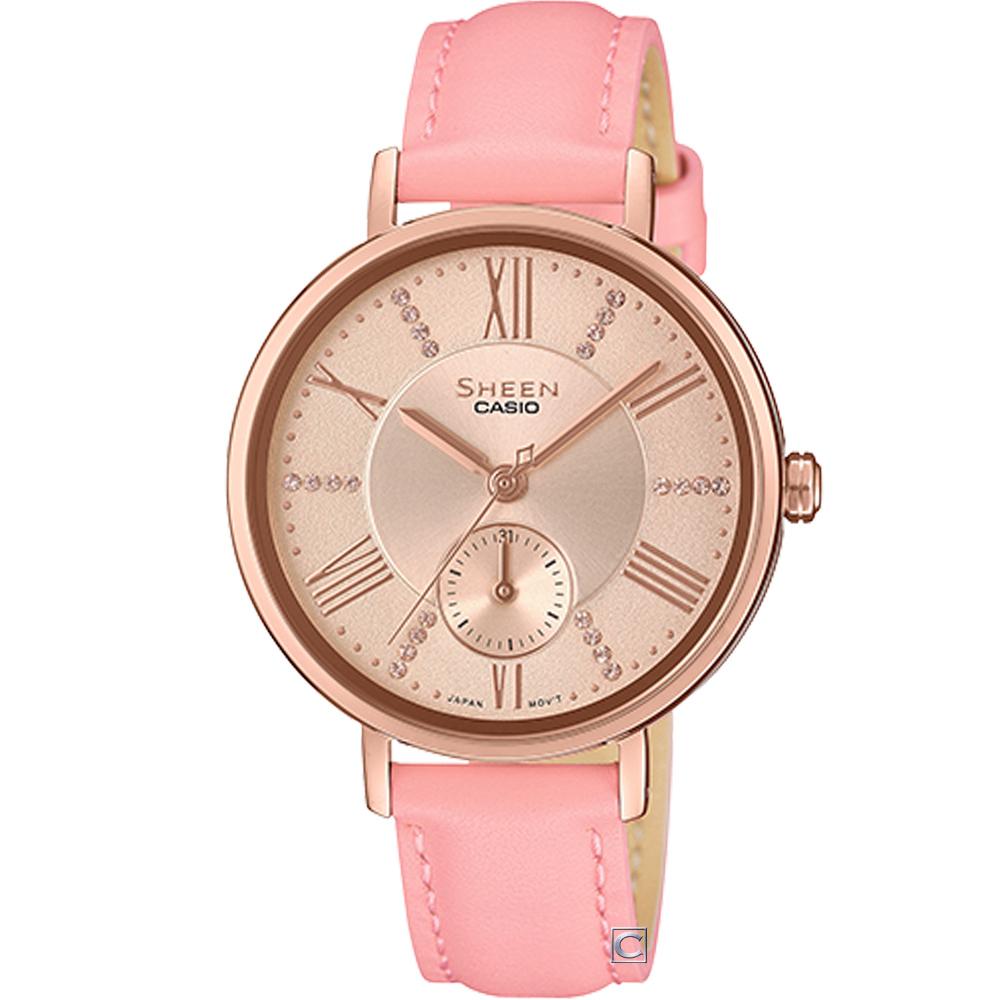 CASIO SHEEN 氣質簡約俐落腕錶(SHE-3066PGL-4A)34mm