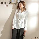 東京著衣-KODZ 質感大圓釦腰收褶附綁帶襯衫上衣(共二色)