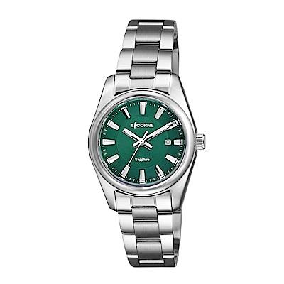 LICORNE 力抗錶 都會款 簡約風格手錶 白×綠×銀/29mm