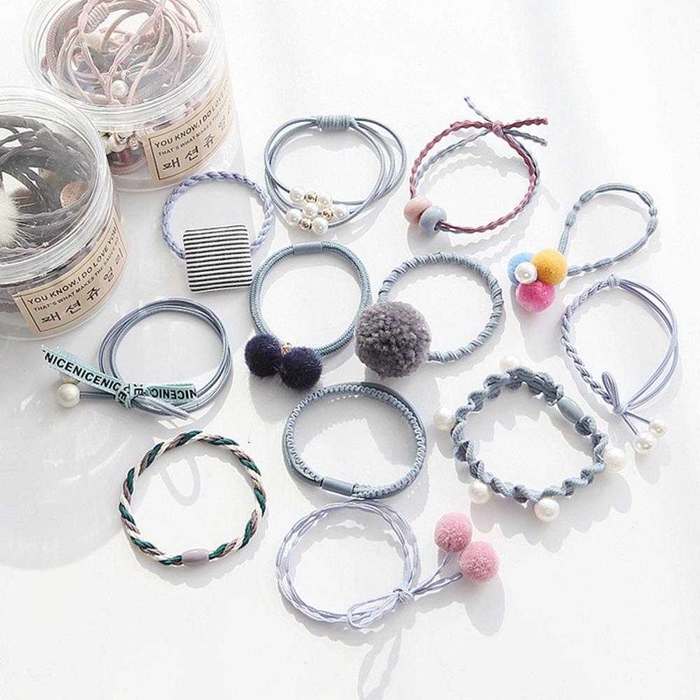 E-dot 氣質毛球珍珠髮飾髮圈12件盒裝組(淺藍)