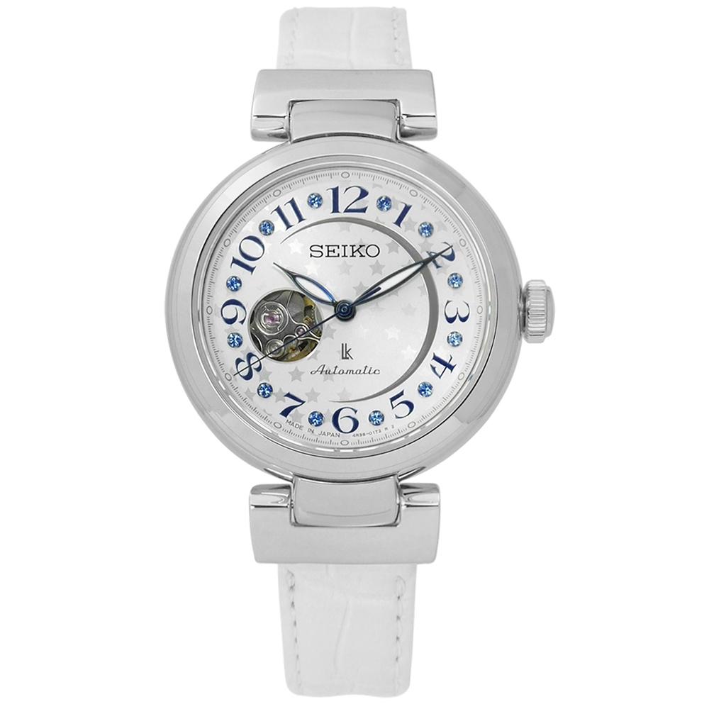 SEIKO 精工 LUKIA 星光 機械 鱷魚皮手錶-銀x白/34mm