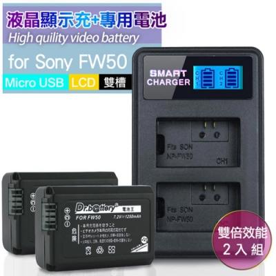 Dr.battery電池王 for Sony NP-FW50 高容量鋰電池*2顆+雙槽液晶充電器