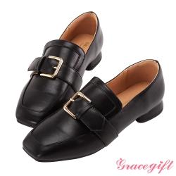 Grace gift-金屬方釦低跟樂福鞋 黑