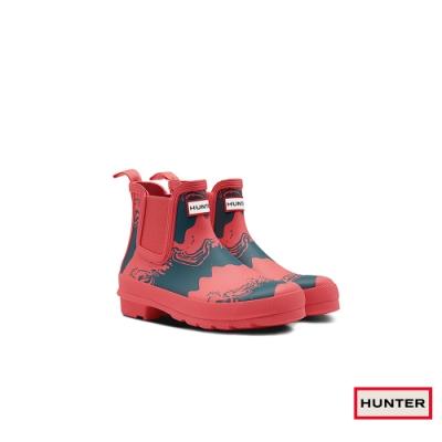 HUNTER - 女鞋 - Original切爾西印花霧面踝靴 - 紅