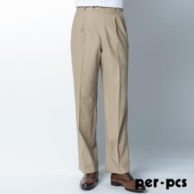 per-pcs 質感品味打摺西裝褲_條紋卡其(84222)