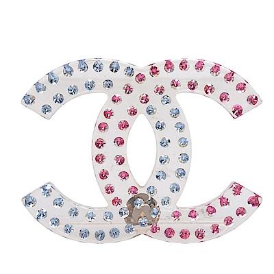 CHANEL 經典CC LOGO雙排雙色水鑽鑲嵌樹脂造型胸針(藍X紅)