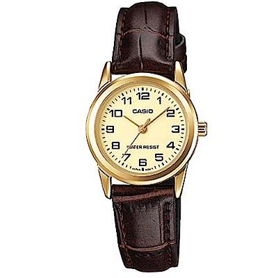 CASIO 極簡風格經典數時刻皮帶腕錶(LTP-V001GL-9B)金框x黃面/25mm