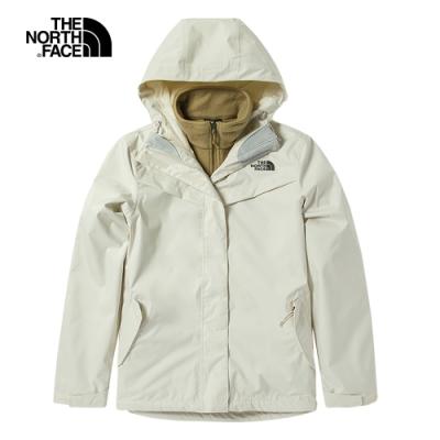 The North Face北面女款米白色防水透氣三合一外套|4U7R2KX