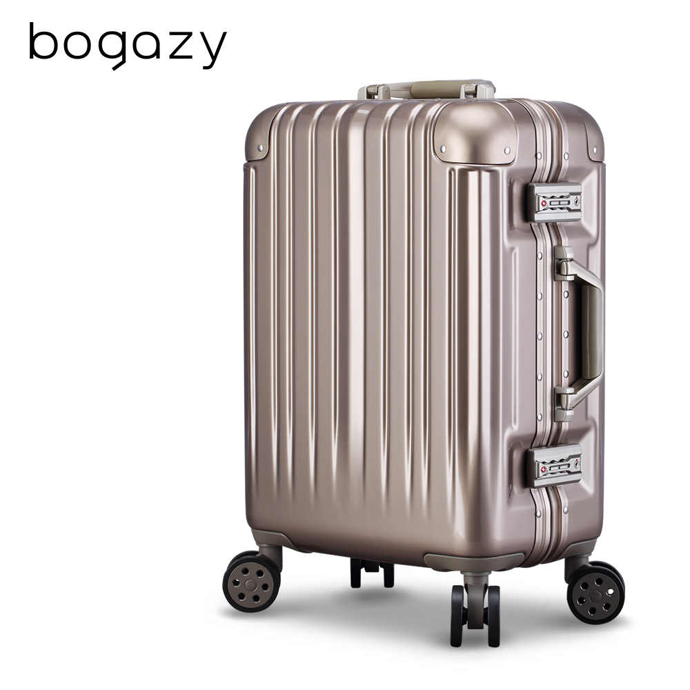 Bogazy 迷幻森林III 20吋鋁框新型力學V槽鏡面行李箱(香檳金)
