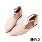 HERLS 優雅小姐 全真皮素面踝帶尖頭平底鞋-粉色