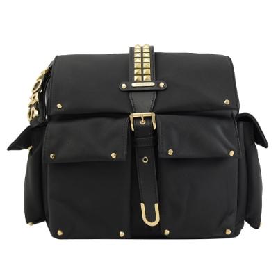 MICHAEL KORS Olivia鉚釘裝飾雙口袋尼龍翻蓋後背包(黑)