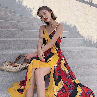 DABI 韓系顯瘦撞色拼接細肩帶長版印花無袖洋裝