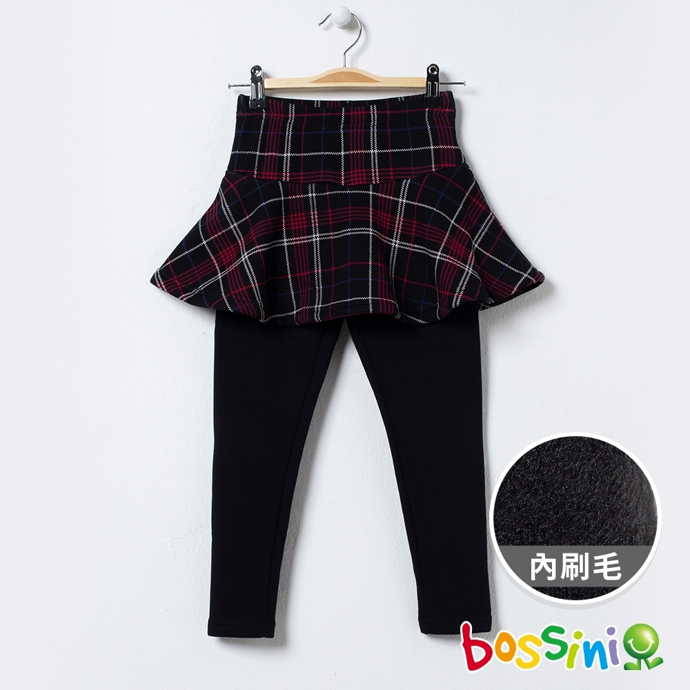 bossini女童-格紋針織短裙附內搭褲(內磨毛)紅黑格紋
