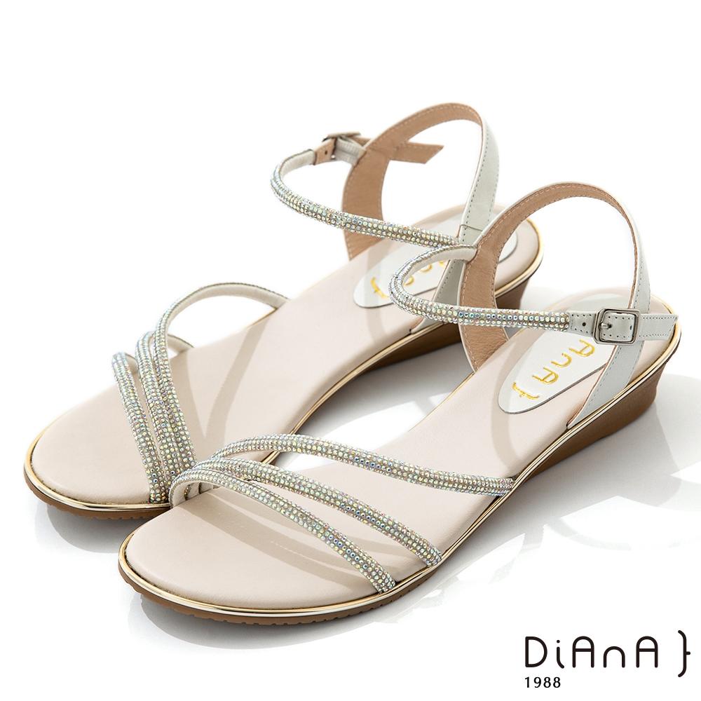 DIANA 2.2cm 星河水鑽X牛皮交織環繞羅馬低跟拖鞋-夏日風情-銀