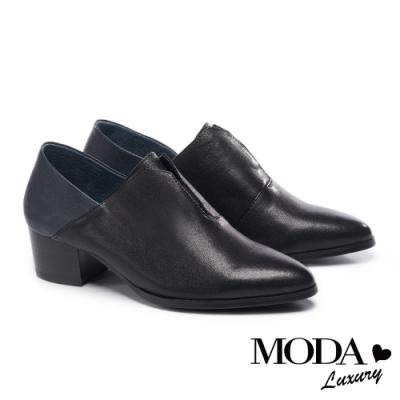 跟鞋 MODA Luxury 極簡內斂拼接設計全真皮高跟鞋-黑