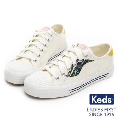Keds CREW KICK 撞色Logo綁帶帆布鞋-奶油白